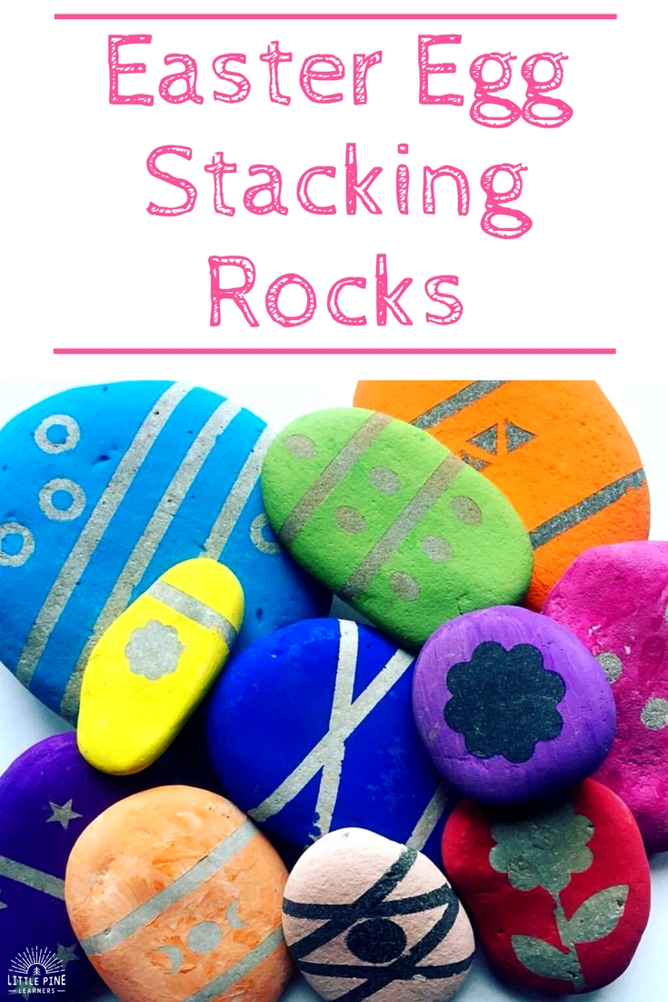 Make this fun nature craft for Easter! These Easter egg stacking rocks are fun to play with and look beautiful. Enjoy!