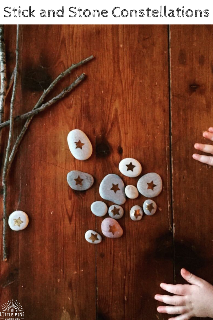A simple constellation activity with sticks and stones.