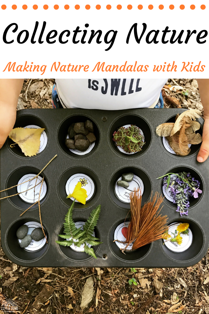 The Muffin Tin Nature Scavenger Hunt and Mandala Makers activity gives children the opportunity to experience mindfulness through the beautiful art of mandala making. Children will get their dose of nature therapy by collecting pieces of nature in their muffin tins and then practice making mandalas.