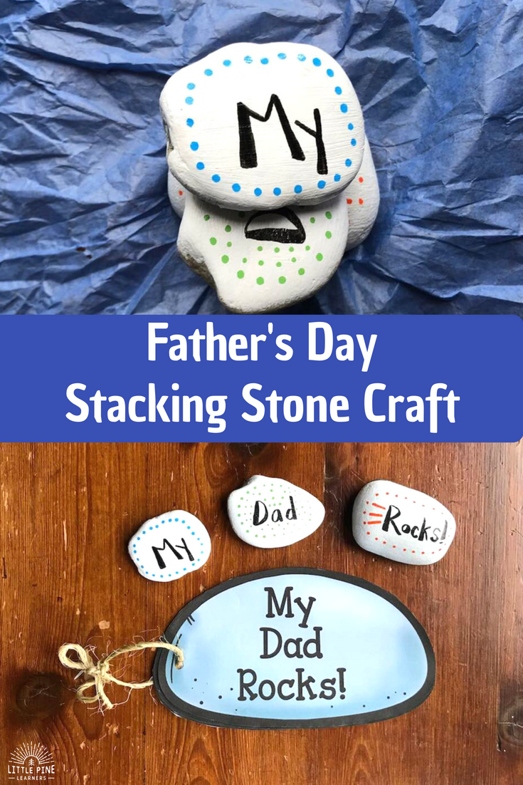 My Dad Rocks! is a unique book your students can make for their dad, uncle, or grandpa. This book makes a great Father's Day gift or birthday present! Just cut out the rock shapes, have your students fill out the questionnaires, and staple or tie the pages together with string. If your students are too young to write, you can record their answers for them! Try adding the My Dad Rocks stacking stone craft to make the gift extra special!