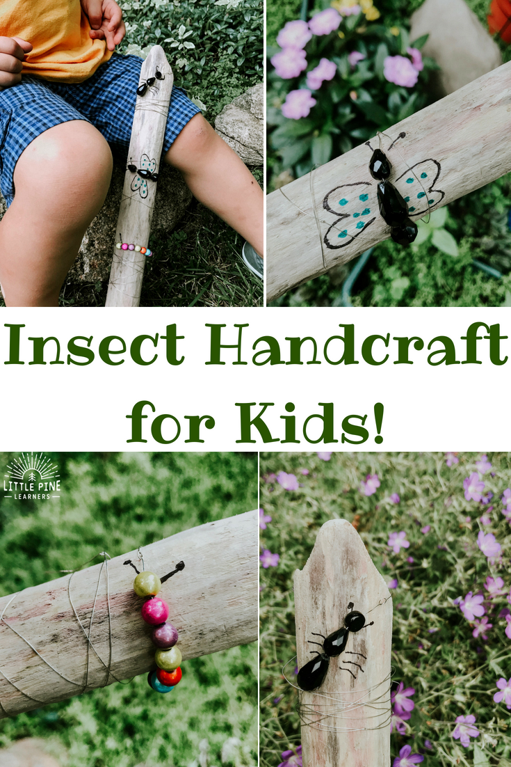 Summer is in full swing and we have been observing insects everywhere we go! This morning we saw several ants on a log at the beach and this idea was born. With a few supplies, you can make this work of art that looks great in a garden or any area of your yard that needs a cute decoration.