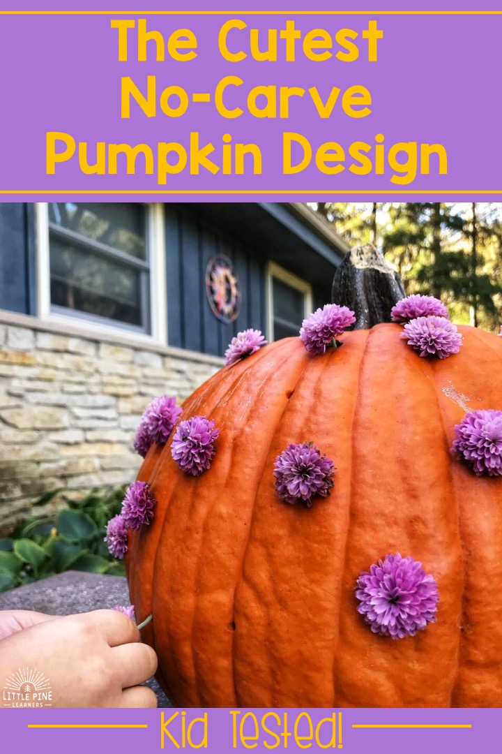 Are you looking for the cutest no-carve pumpkin design to display on your front porch this fall? You've stopped at the right place! This beautiful mum pumpkin is the perfect idea for kids that are too young to carve their own pumpkins. Read on to see how we achieved this look! It might surprise you.