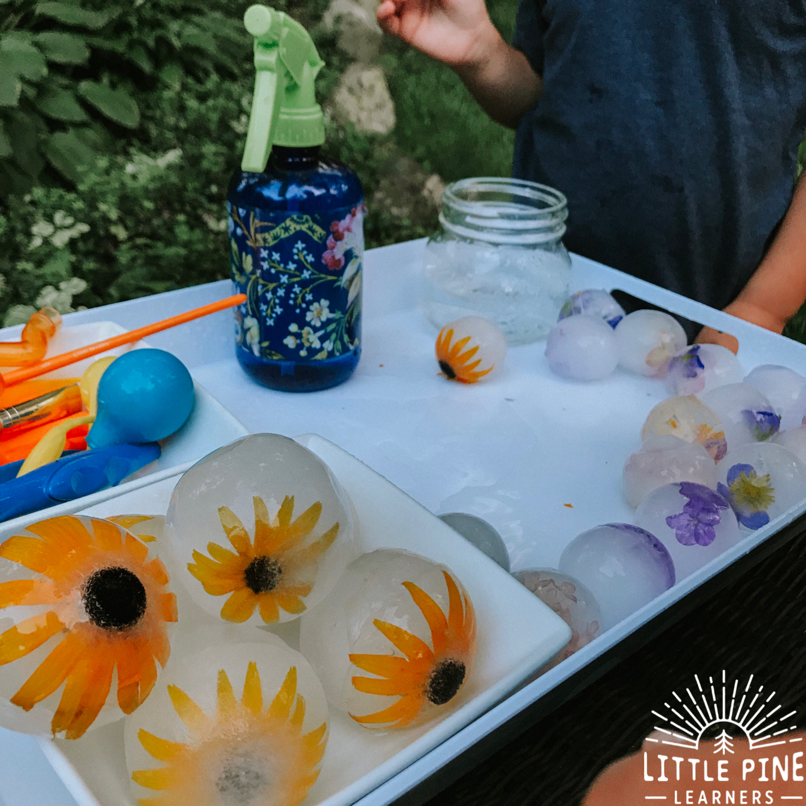 Looking for a unique sensory bin that will cool off your children and keep them entertained for a REALLY long time?! Then you are in the right place! Just freeze wildflowers in extra large sphere ice molds and your morning is set.