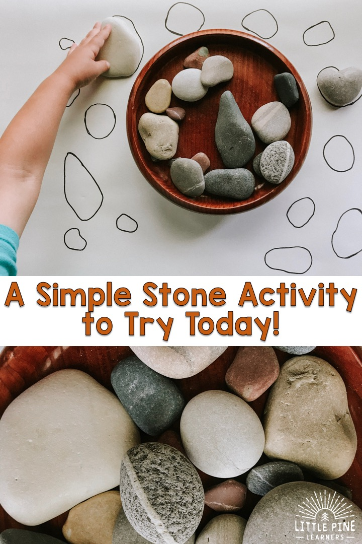 Try this simple stone matching game for kids today! This game will give your child the opportunity to practice using new vocabulary words, compare different sizes and shapes, strengthen fine motor skills, and appreciate nature in a new way!