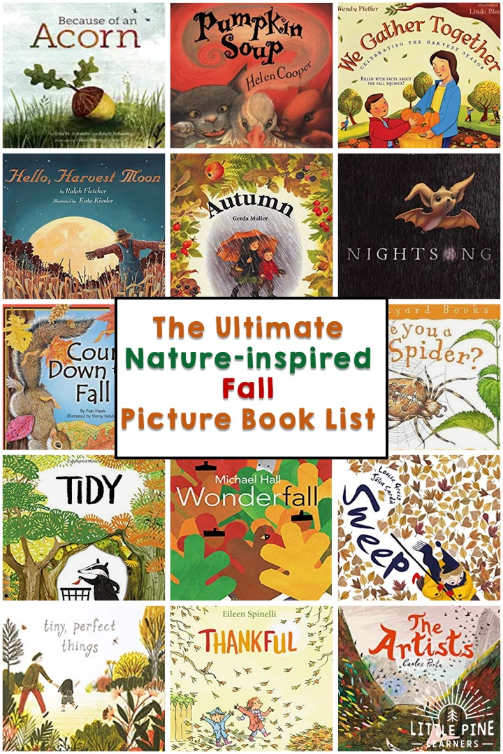 Check out 50+ nature-inspired fall picture books for kids right here in one spot! You will find books about pumpkins, apples, spiders, bats and much more.