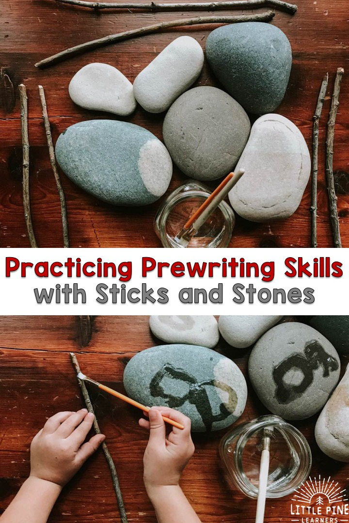 Try this simple activity to work on prewriting skills. Practice drawing straight lines on sticks and curved lines on stones with water and a paintbrush. Practice all over again once it dries!