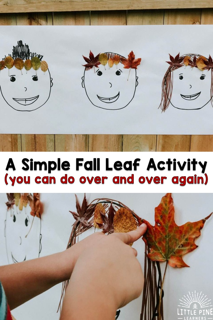 Here is a simple fall leaf crown activity that you can do over and over again! With just a few supplies, you have a fun nature invitation that children will love and return to throughout the week- if not longer.