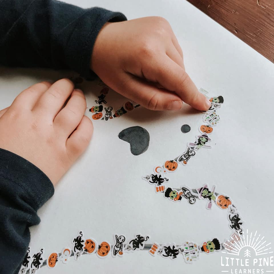 Work on fine motor skills, hand-eye coordination and counting with this fun Halloween sticker activity. It's perfect for all of those extra stickers that will accumulate in your house over the month of October. Kids of all ages will love this activity and the end result is adorable!