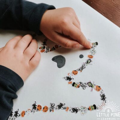 Work on fine motor skills, hand-eye coordination and counting with this fun Halloween sticker activity. It's perfect for all of those extra stickers will accumulate in your house over the month of October. Kids of all ages will love this activity and the end result is adorable!