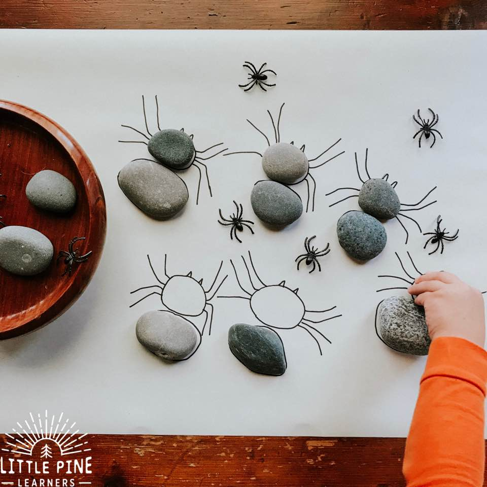 Here is a simple DIY stone activity that kids will love! This is a great activity for learning about spider anatomy or makes a great Halloween game. Kids will enjoy searching for the correct stones while learning new nature vocabulary words, strengthening fine motor skills, and comparing different stone sizes and shapes.