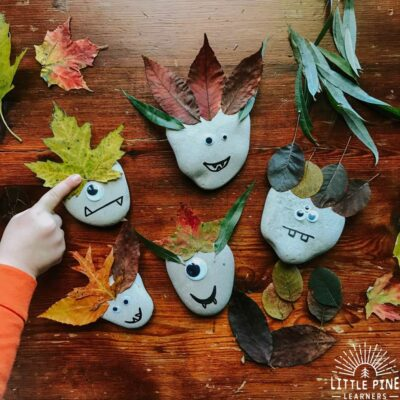 Here is an easy leafy monster rock craft idea for your monster loving kid or Halloween. This is a great non-scary idea, and uses natural materials which you probably already have right in your yard!