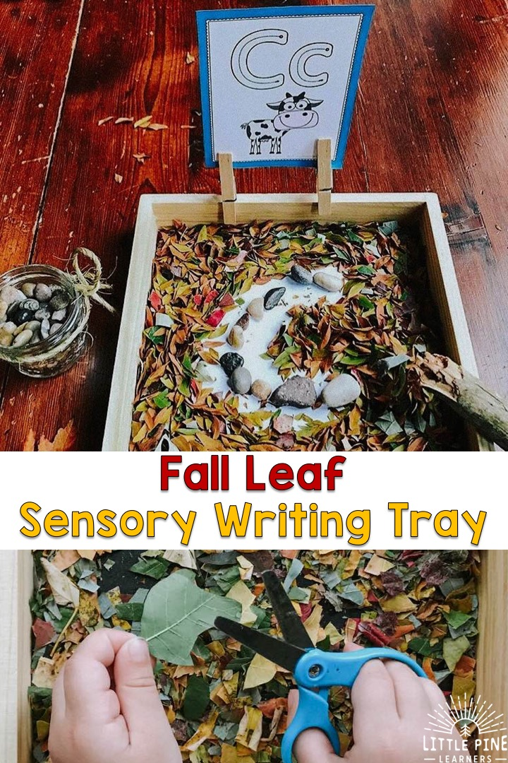 Are you looking for a free and beautiful sensory writing tray? Children will love cutting, tearing and crumbling a rainbow of leaves for this tray! Once its ready, they can practice writing their letters and other prewriting strokes in the leaf confetti.