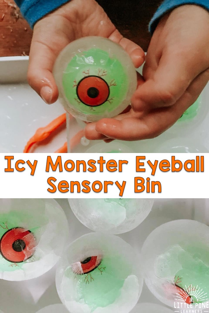 This icy sensory bin is perfect for your next Halloween party or any regular ole Monday! It's easy to set up and it will keep kids entertained for a long time. Just freeze toy monster eyeballs in extra large sphere ice molds, set out some fine motor tools and you are all set!