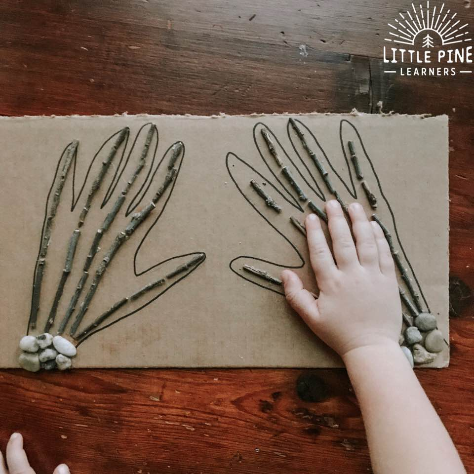 Try making a stick and stone skeleton sensory board this Halloween! This makes the perfect not-so spooky piece of wall art that children can touch and learn all about human bones. This is perfect for tactile learners who prefer learning through touch and tend to retain information better when some type of physical activity is involved.