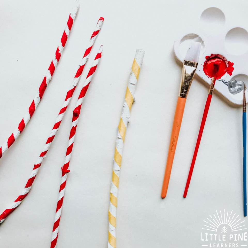 Cute candy cane craft made from sticks!
