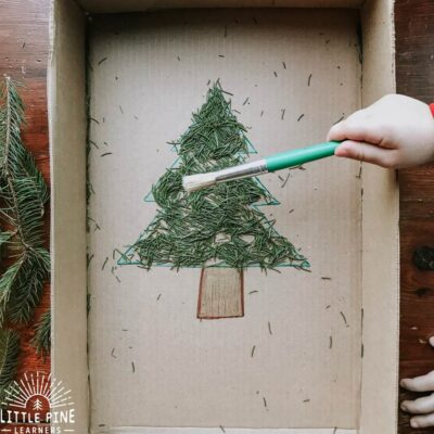 Pine Needle Sweep {A Fine Motor Christmas Activity}
