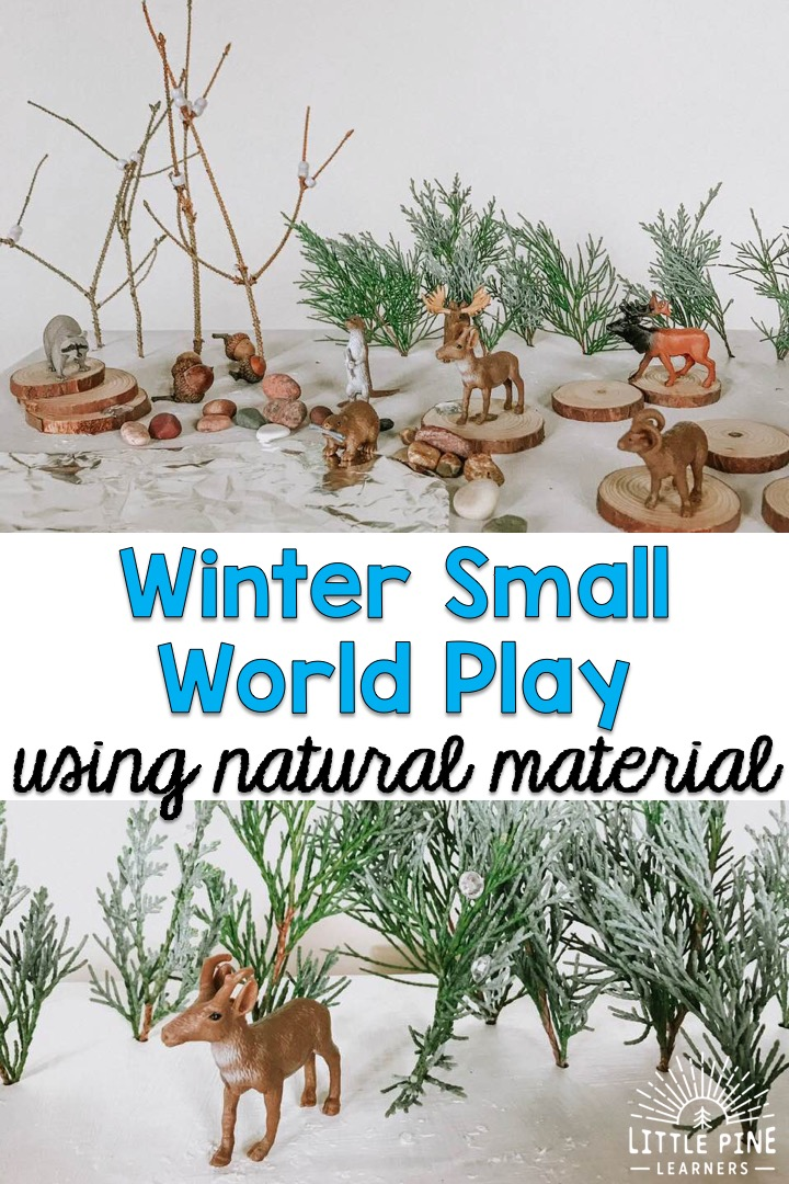 You've stopped at the right place for the best tips and tricks to turn a simple cardboard box into a woodland winter wonderland! Many of the items we use in this small world can be found right in nature