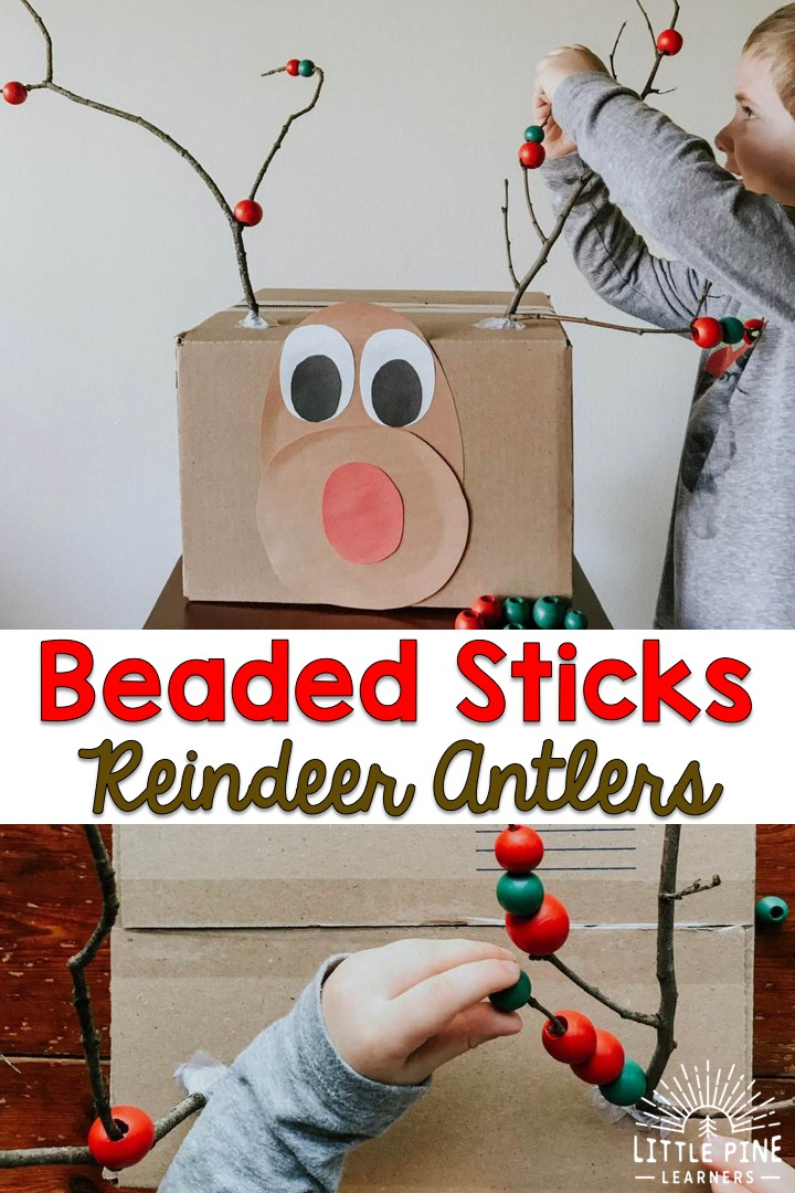 Check out this adorable recycled box reindeer activity for preschoolers! It's the perfect activity to help strengthen fine motor muscles and work on early math skills. Kids will love threading the beads on Rudolph's stick antlers while they work on making patterns, counting, sorting, and color recognition! There's a lot of learning going on in this super simple activity.