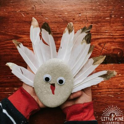 This turkey rock craft is the perfect home decoration or handmade gift this Thanksgiving! You just need a rock and few other craft supplies to make this kid-friendly turkey craft. The contrast of the stones with the metallic gold dipped feathers looks so elegant and the googly eyes make these turkeys irresistible to young kids!