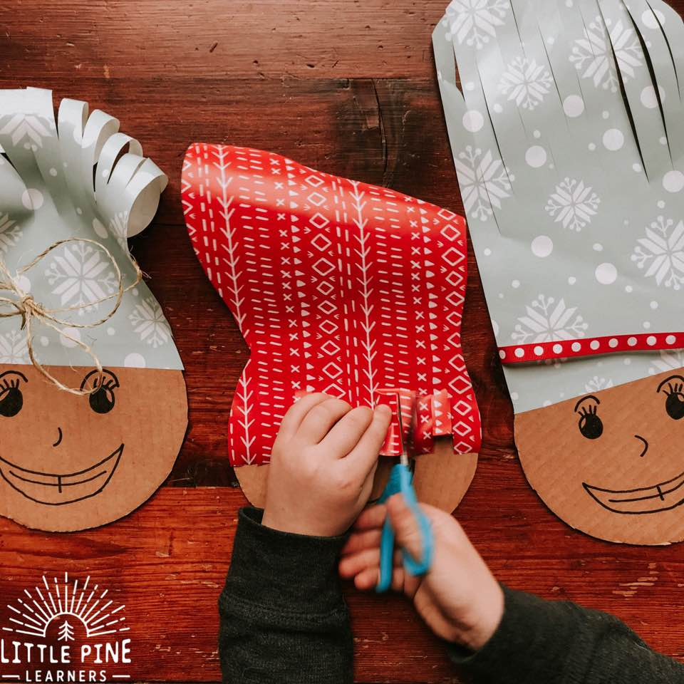 Try this adorable and simple activity this Christmas (or after a birthday party)! Save your wrapping paper after opening gifts and reuse it in this fine motor activity that kids will love. It's the perfect boredom buster for winter break and a great way to work on scissor skills!