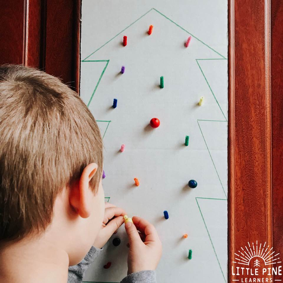 Here is a fun Christmas tree activity that's perfect for working on color recognition and fine motor skills.