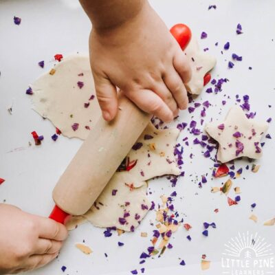 This natural play dough recipe will provide hours of fun and entertainment for kids! Just add some eco-friendly flower confetti and you have a beautiful nature invitation that kids will return to over and over again.