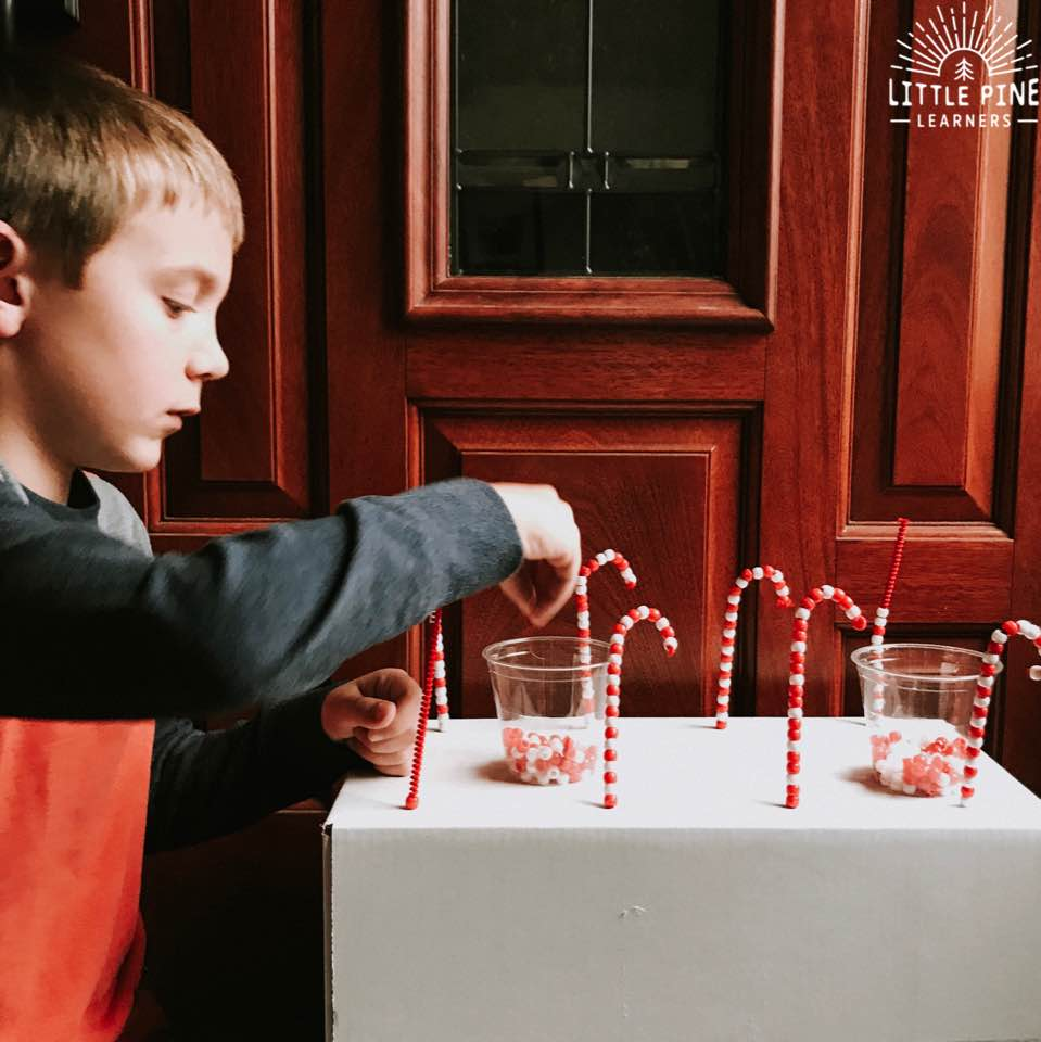 I put a new spin on and old classic with the DIY pipe cleaner candy cane shop! This is an easy, inexpensive and, fun activity that children can return to over and over again. This activity keeps children focused for long periods of time which makes this a great screen-free holiday project!