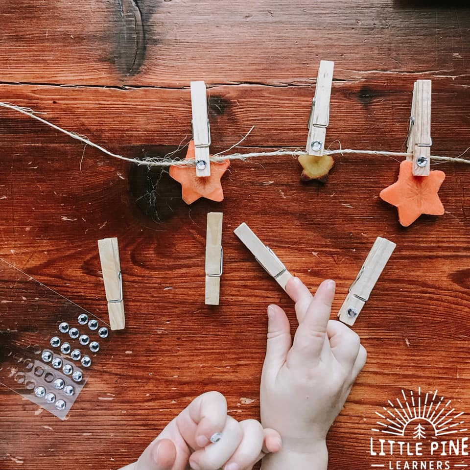 you can add little sparkly sticker gems on the clothespins to make them sparkle and stand out in the night! You don't want the reindeer to miss your home:)
