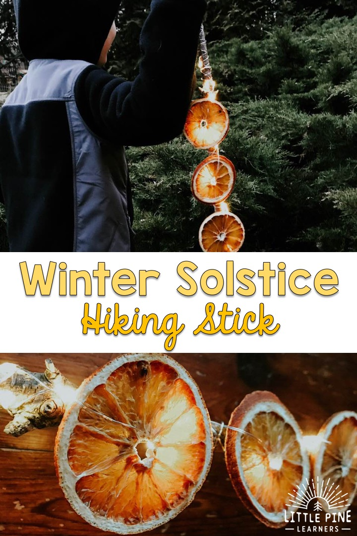 We've all heard about winter solstice lanterns, but what about winter solstice hiking sticks?! These are the perfect accessory for a winter solstice nature walk and will help light up your way through your neighborhood or hiking trails. This is just the inspiration your family needs to venture outdoors and welcome back the light on the darkest day of the year!
