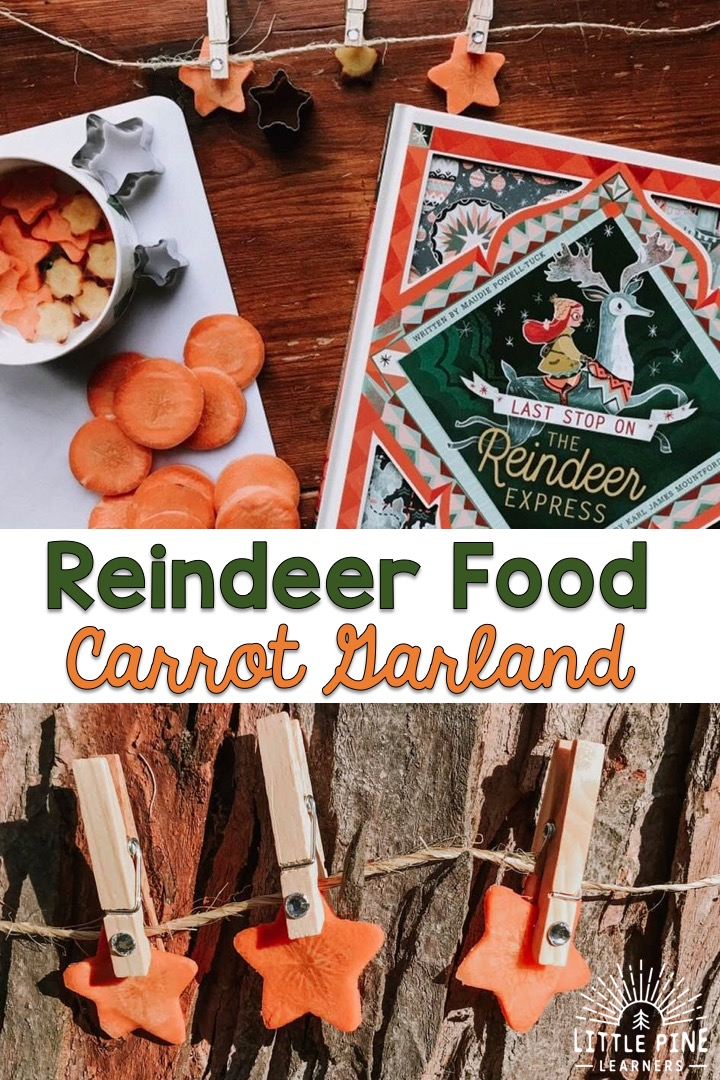 One of our favorite holiday traditions is setting out reindeer food on Christmas Eve for Santa's special helpers. This year, I thought it would be fun to step away from the typical oat recipe we've used in years past to try something different and a little more fun! Our carrot garland turned out really cute and my boys loved making this beautiful reindeer food.