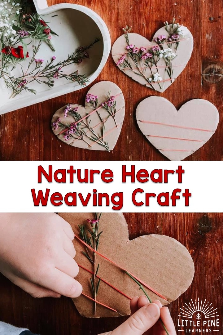Here is a simple nature heart weaving activity for Valentine's Day or Mother's Day. The contrast of the natural cardboard heart with the colorful flowers, makes this the most beautiful gift to hand out this Valentine's Day!