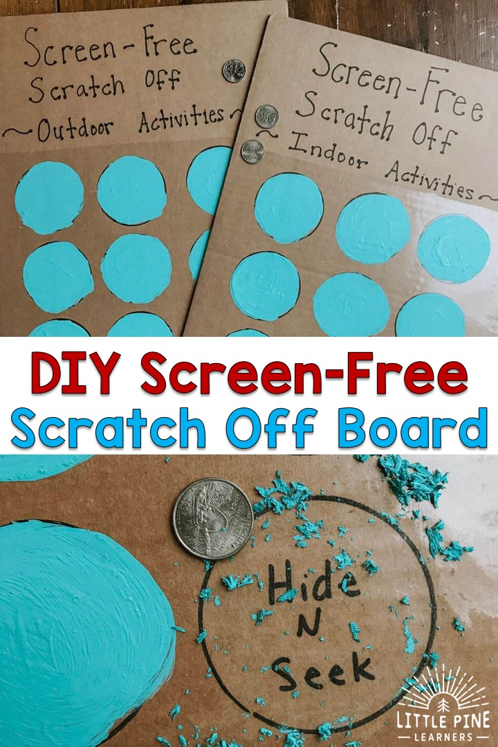 This is the BEST way to get kids excited about screen-free activities! Kids will love the satisfaction of scratching the paint mixture off the circles and get super excited when the activity is revealed! Read on to learn the scratch off recipe, different ways to present this screen-free board to your kids, and activity ideas.