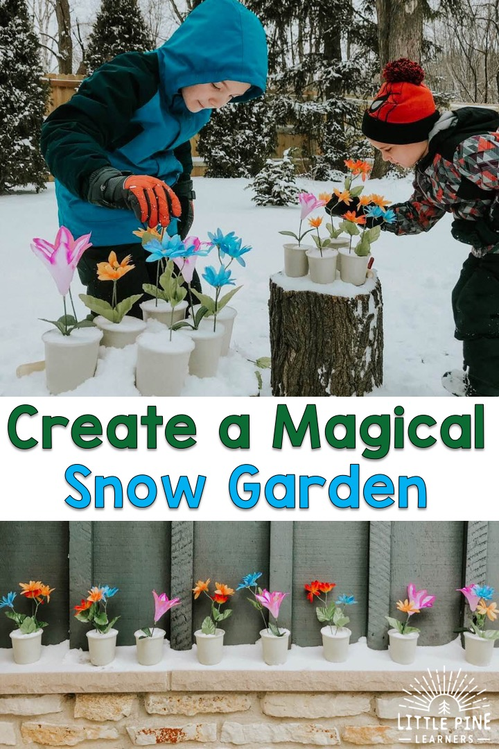 The next time your a looking for a fun and easy outdoor winter activity for your kids, try making a magical snow garden! It's so easy to set up and kids of all ages will love making different floral arrangements in the snow. The flowers look so beautiful against the white snow and make a really fun and colorful outdoor decoration!