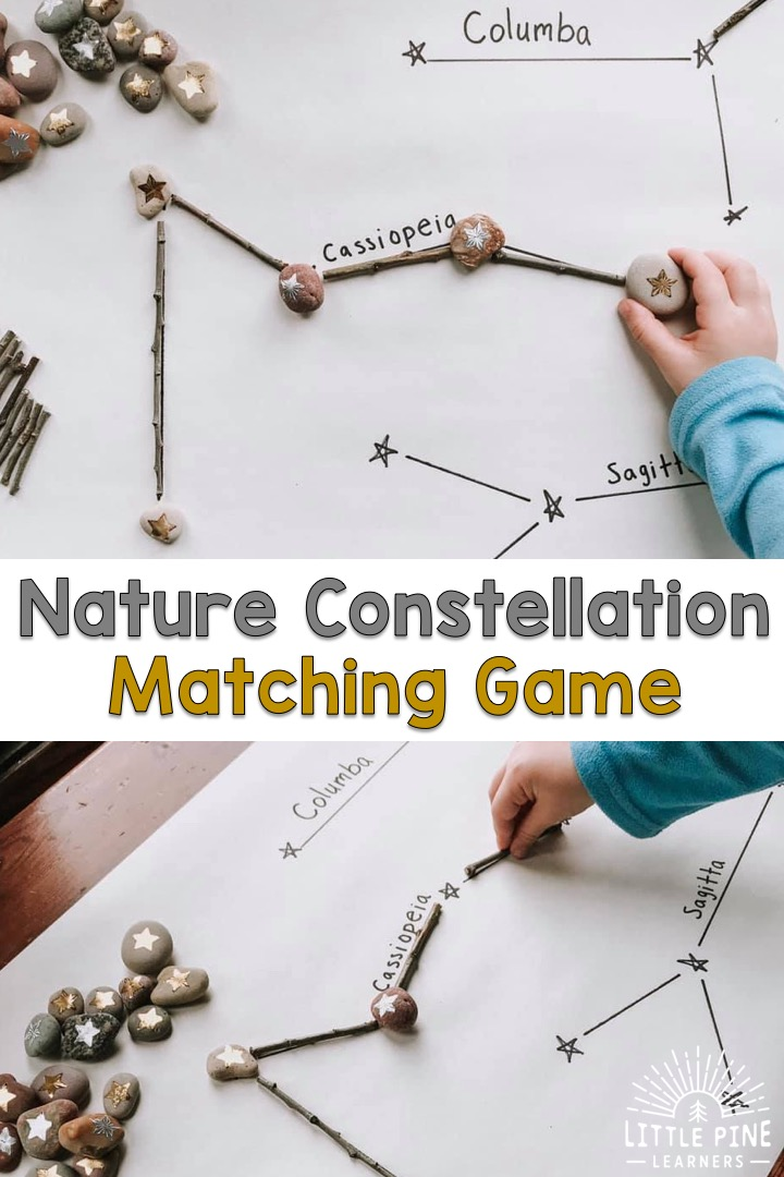 Introducing the constellations and stars to kids is easy with this simple science activity for preschoolers! For this activity, you just need sticks, stones, and a roll of paper to get started. Ready to head into space? Here we go!