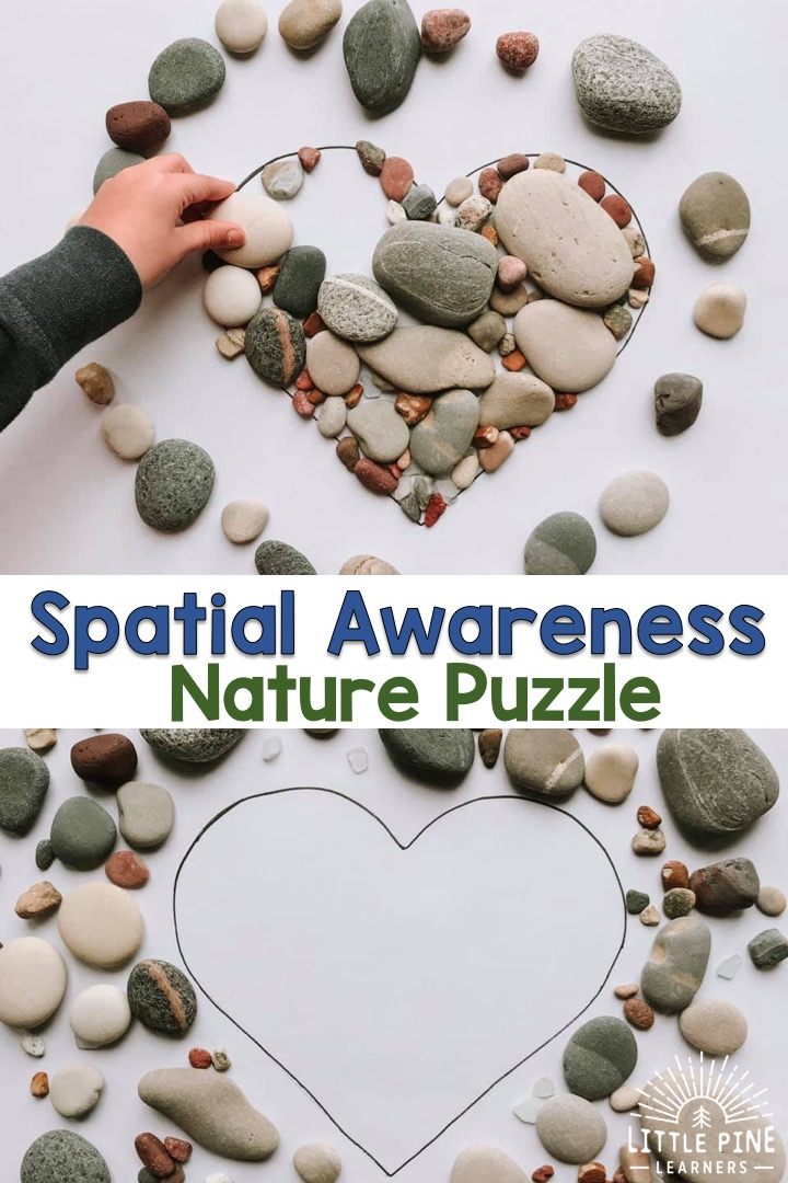 Give your child the opportunity to work on spatial awareness with this simple and beautiful DIY nature puzzle. Children will love manipulating the pieces of nature to make them fit inside the shape! You can keep this activity fun and fresh by adding new seasonal pieces of nature in your area.