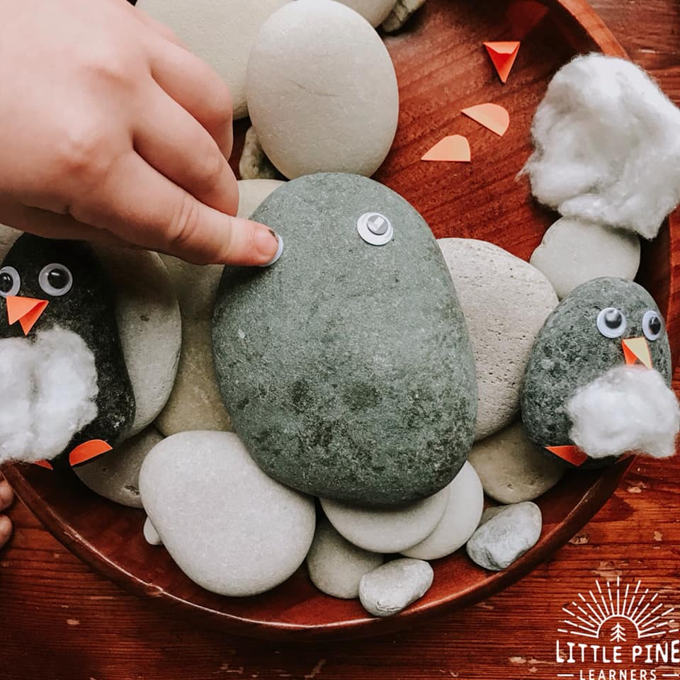 It's that time of year for penguin activities! Here is a simple and absolutely ADORABLE penguin rock craft that is totally doable for preschoolers to big kids. You can make these just for fun or add these penguins to a sensory bin or an arctic themed story stone mat. Give them a try this winter!