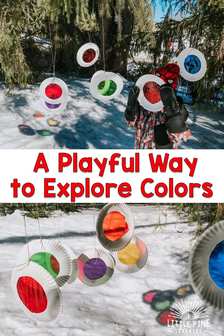 Take these DIY color viewers outdoors for a fun color activity! Kids can look through them and watch snow and clouds magically change colors. They look adorable hanging from a tree and and the color reflections are beautiful against the snow!
