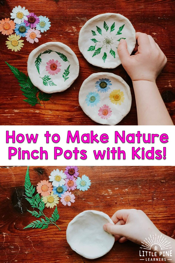 This is a simple and beautiful nature craft to make for someone special in your life. This pinch pot makes an adorable gift or fun decoration for around your house. They can be used as a pretty jewelry or coin dish! The process is really fun and kids of all ages can give it a try.
