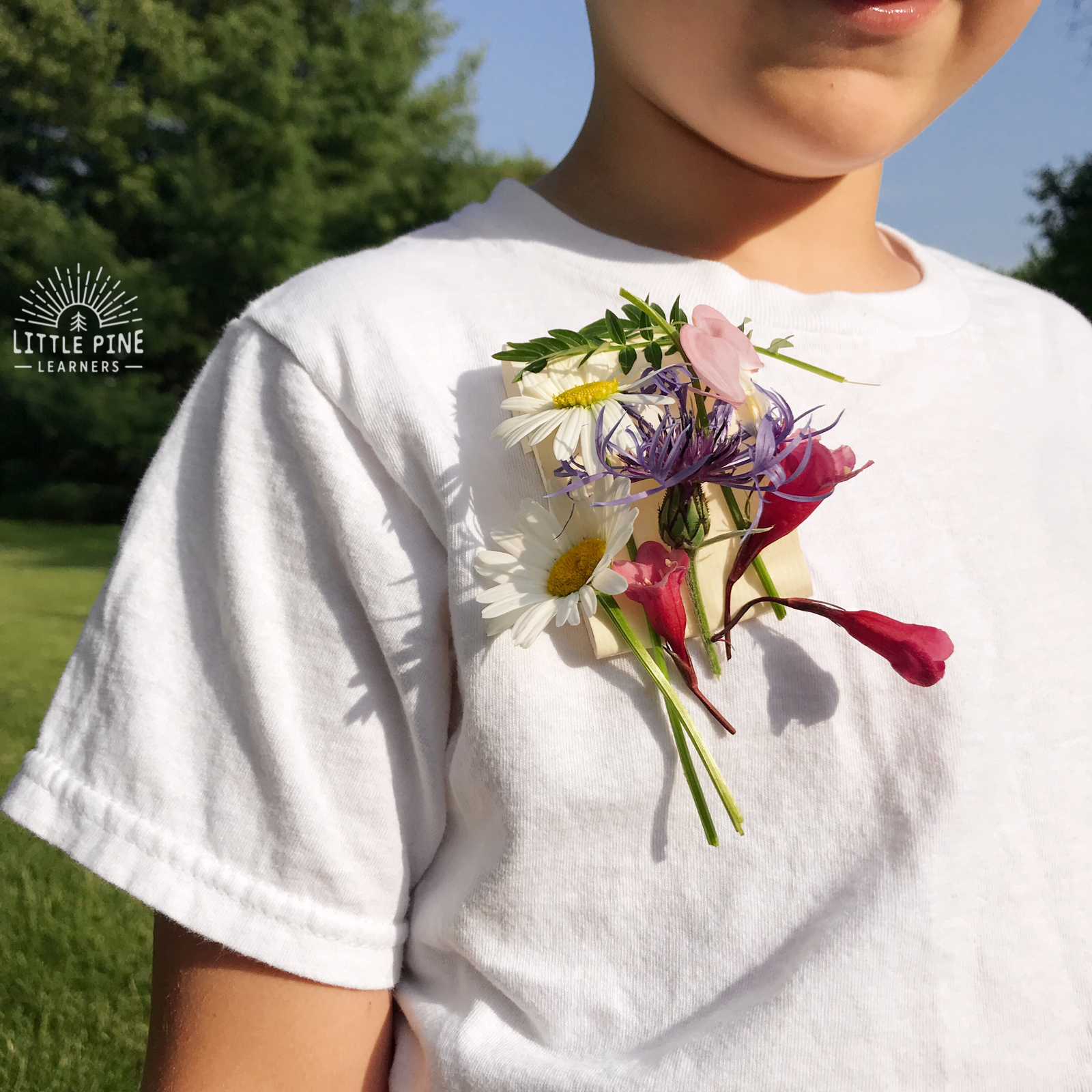 Duct tape and flower nature badge for kids