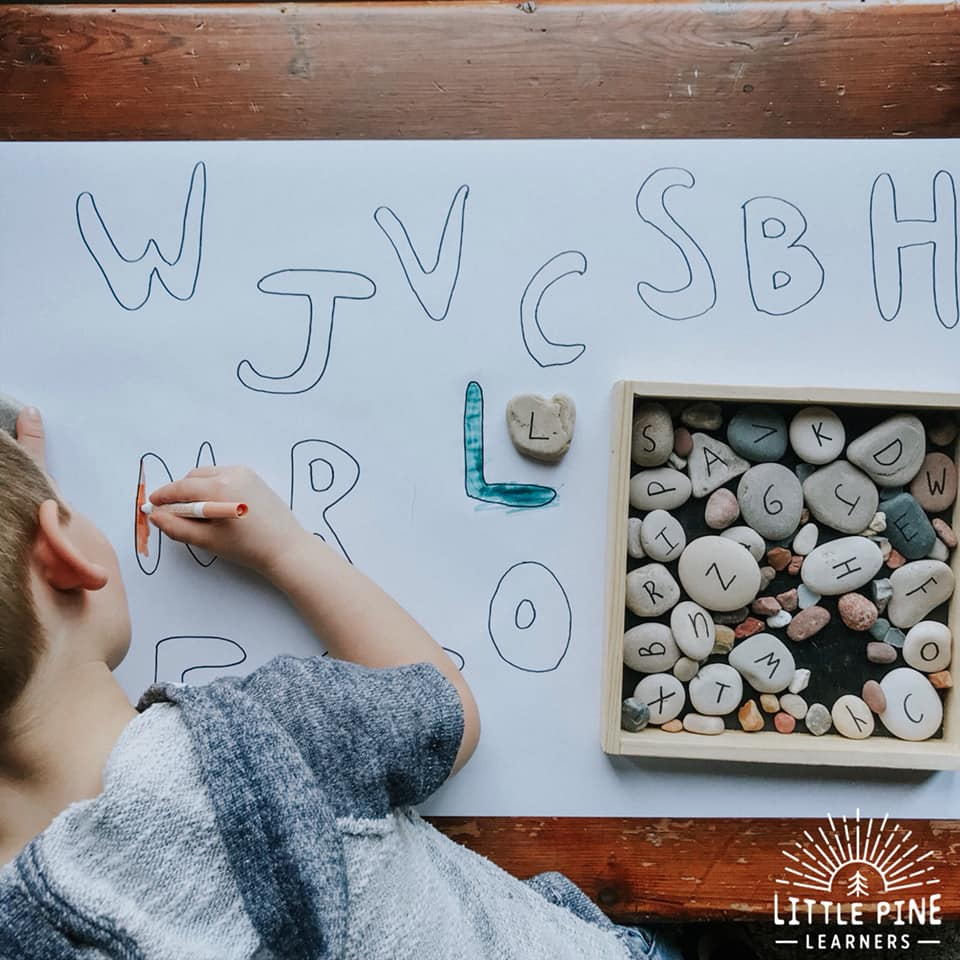 Looking for an alphabet learning invitation that can be kept out and enjoyed off and on for a few days?! This is the activity for you! This alphabet practice activity will keep your child interested and engaged for a long time. This activity mixes art with learning and is perfect for preschool aged kids and up.