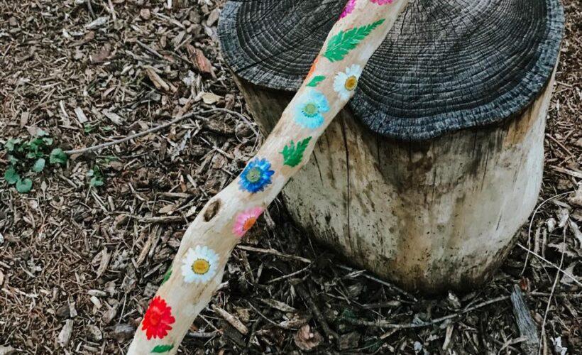 Stunning Pressed Flower Hiking Stick