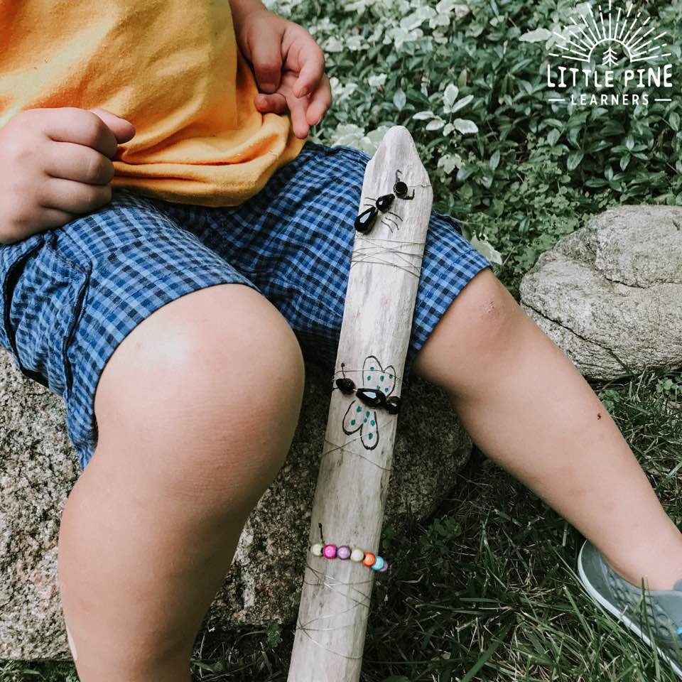 Adorable Beaded Bug Hiking Stick for Kids