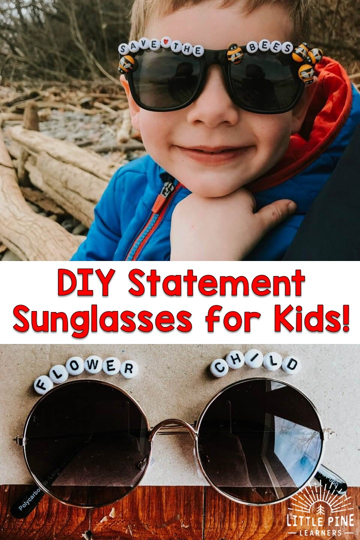 Get kids outside with these adorable DIY statement sunglasses! Kids will love to help design their own pair of sunglasses and will be so excited to wear them outside. Try making this adorable outdoor accessory for kids today!