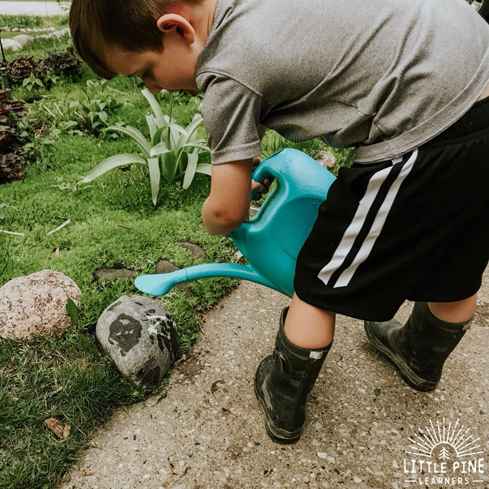 This is one of the easy activities that you will return to over and over again! Get your kids outside with this fun alphabet activity that you can try in the garden or just place the alphabet stones around the yard! Kids will love searching for them and get super excited when they see the chalk letters magically erase with the help of the watering can.