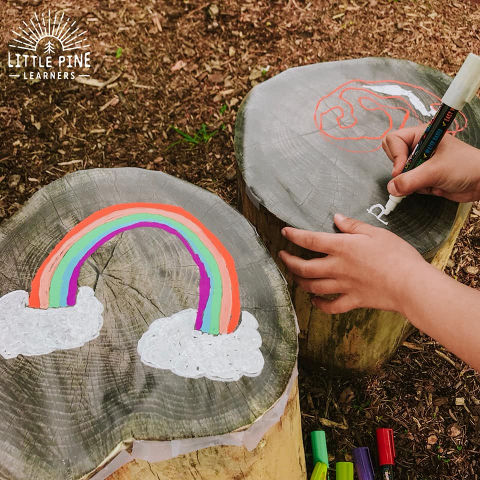 Transform a tree stump into a dry erase surface with just a couple of supplies! Children will love using these special markers to make beautiful and vibrant creations on a tree stump. Have fun drawing pictures, writing letters and words, or playing games like tic-tac-toe!