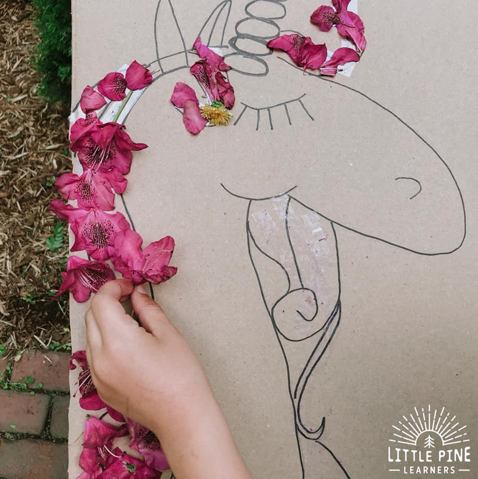 Just add nature to make this simple nature unicorn craft for kids.