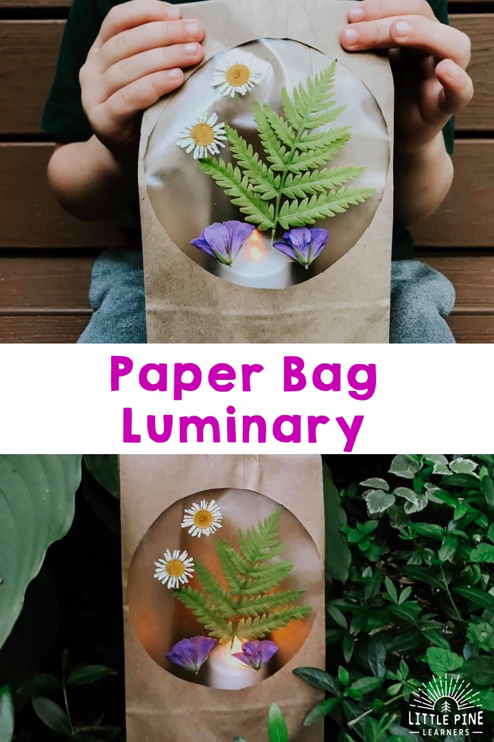 Check out this simple and beautiful paper bag luminary! This is an easy summer craft for kids and is the perfect decoration for your home or yard. You can use pressed flowers or fresh pieces of nature straight from the garden!