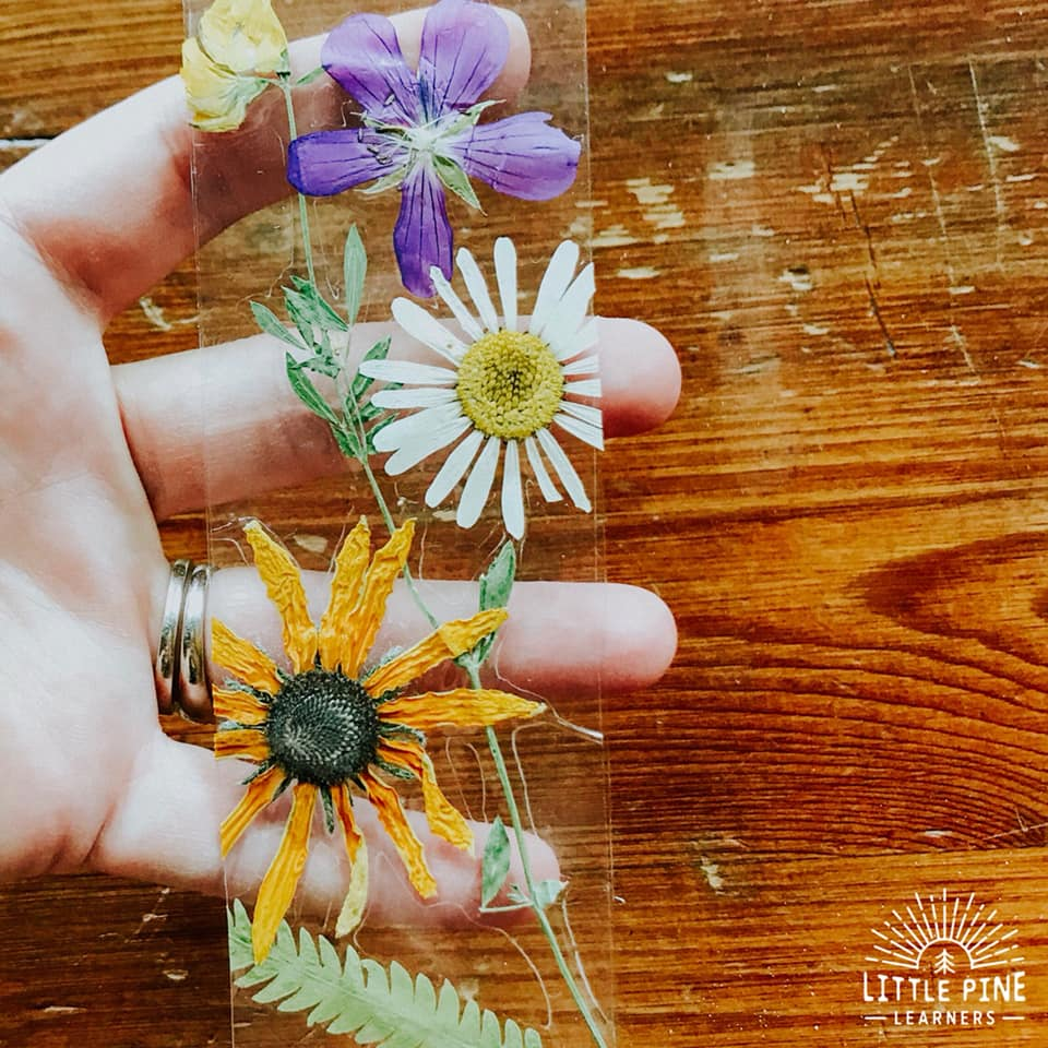 Encourage reading at home with these gorgeous DIY pressed flower bookmarks! Children will love the process of pressing flowers and leaves and the finished nature craft is stunning.