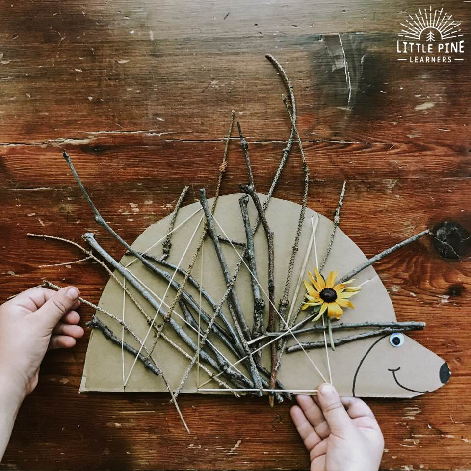 This stick weaving craft will be your new go-to outdoor activity for kids! It's easy to set up, kids can make the porcupine with you or independently, and you can reuse the weaving board over and over again! This is perfect for the homeschool or traditional classroom. It also makes a great remote learning suggestion for parents to try at home!