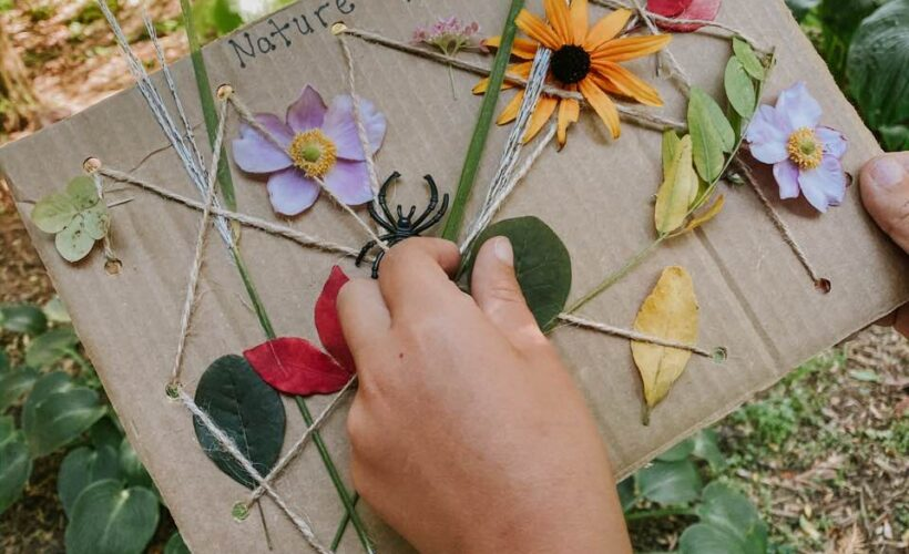 This spider web activity for kids is a must-try craft for fall! The nature spider web is so much fun to make and you can reuse the board over and over again. It's also an excellent way to develop fine motor skills! Give it a try during your next nature walk.